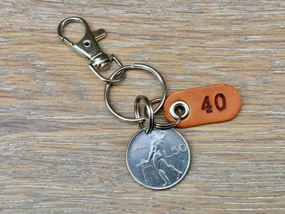 Italian coin keyring, 40th, birthday gift, 1980 Italy keychain, 50 Lire key fob, anniversary  present