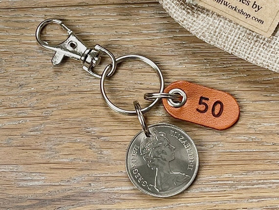 50th birthday gift, 1971 British ten pence coin keyring or clip