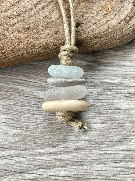 Sea glass and pebble cairn necklace, handmade with raw stone and genuine beach found sea glass with a natural coloured cotton cord