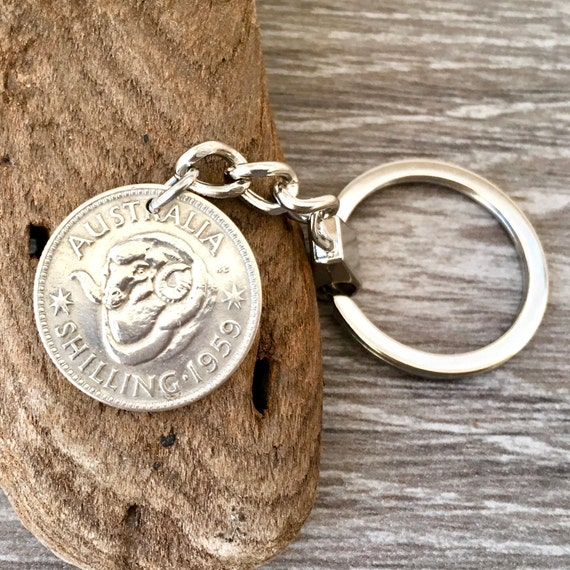 1959 Australian shilling key chain, Australia coin keyring, a perfect 60th birthday or anniversary gift for a man or woman