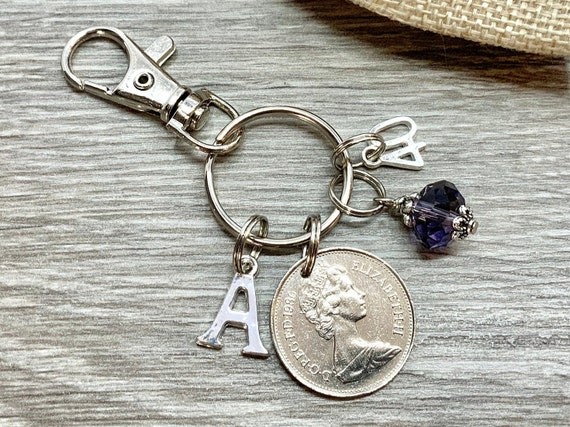 40th birthday gift, Birthstone charm, 1980 British coin keyring or bag clip, choice of initial and birthstone colour, 40th anniversary gift