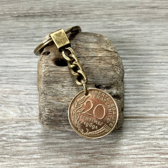 French 20 centimes coin keyring, keychain or clip, choose coin year, France Birthday gift or anniversary present for a man or women