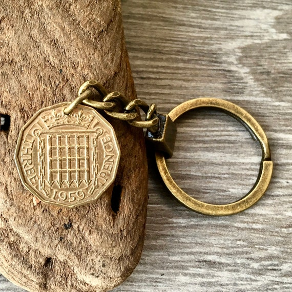 60th birthday gift, 1958 or 1959 English coin keychain, keyring or clip, British threepenny, retirement gift, brass threppence key fob