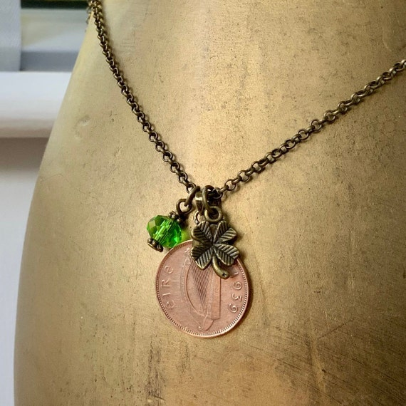 1939 Irish farthing necklace, bird coin pendant, Ireland 80th birthday gift for a woman