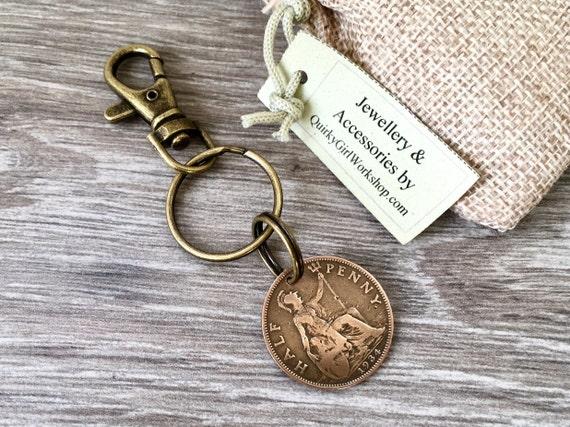 1933, 1934 or 1935 coin keyring, British half penny key chain, choose coin year, Britannia key fob, present for man or woman