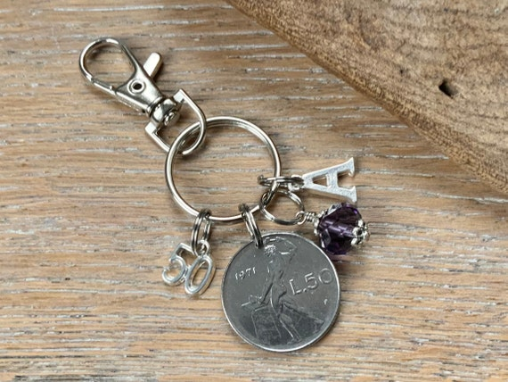 50th Italian Birthstone charm, 1971 50 Lire coin keyring or bag clip, choice of initial and birthstone colour, 50th birthday gift woman