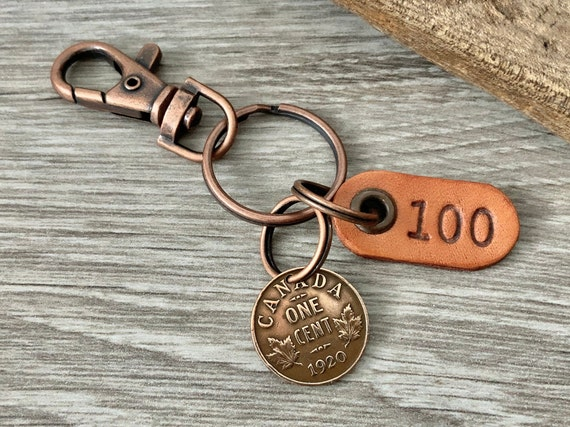 100th birthday gift, 1920 Canadian coin keyring, one cent keychain Canada penny present for a man or woman