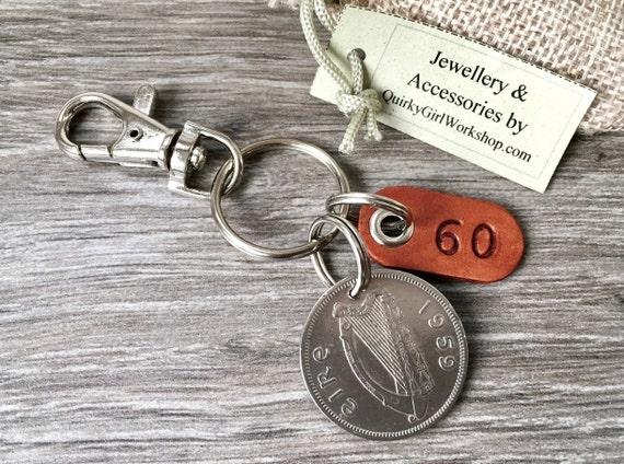 1959 Irish coin keychain, Ireland keyring, irish florin coin clip, 60th birthday or anniversary gift