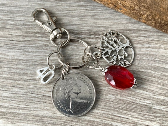 40th Anniversary gift, ruby Anniversary, 1980 British coin keychain, keyring or clip