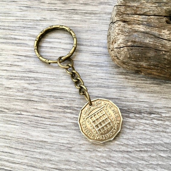 66th birthday gift for him, 1953 English coin keychain, 3d key fob British brass three penny piece keyring, small present for a man,