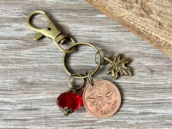 Canada coin keyring, choose coin year, maple leaf keychain 1940- 1950 Canadian penny bag clip, birthday gift present for her, woman