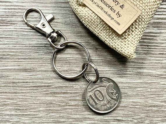 Keychain Key Ring Motorbike Key Fob 50 cents 1966 year Australia Coin Keychain M\u00fcnzring Keychain Coin