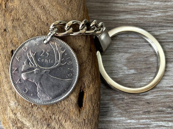 1978 or 1979 Canadian coin keychain, Canada 25c keyring, moose, 40th or 41st birthday gift, anniversary retirement present for a man