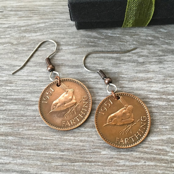 67th or 68th birthday gift, wren Farthing earrings, 1951 or 1952 British bird coins, retirement present woman, mum, grandma, nana,