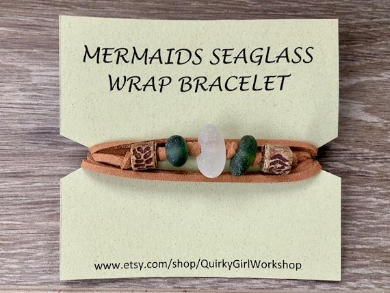 Sea glass bracelet, Mermaids wrap bracelet, simple vegan jewelry, faux leather bracelet, for a man or woman, unusual beach glass gift,