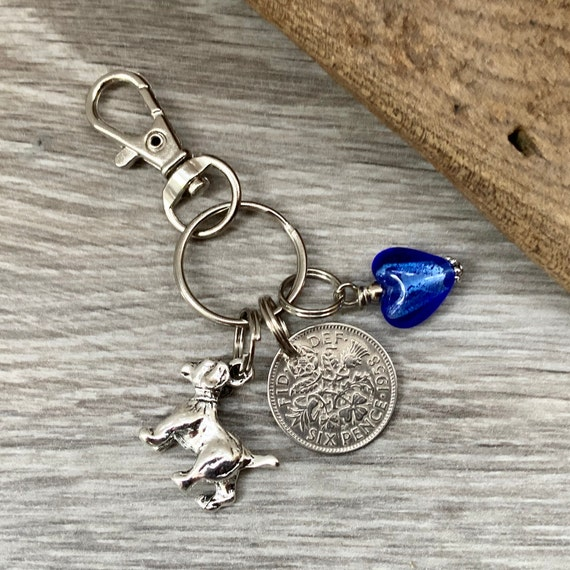Lucky sixpence keychain, silver sixpence keyring, purse charm, bag charm, elephant, dragonfly, feather, present, mum, sister, friend