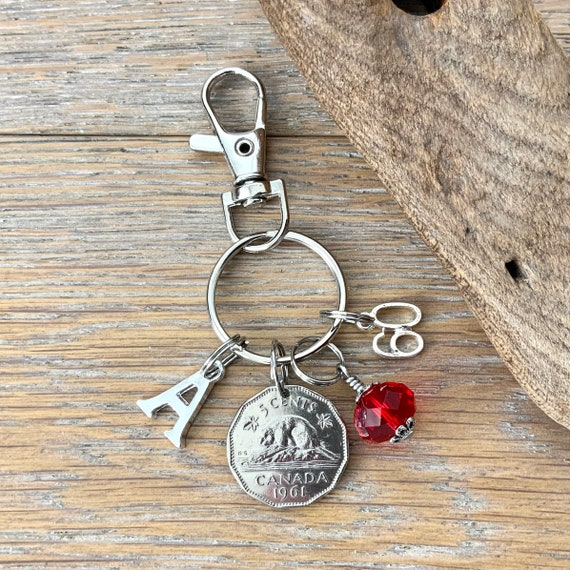 Canadian 60th birthday gift, 1961 Canadian nickel bag clip, choose initial and birthstone colour, 60th birthday or anniversary gift