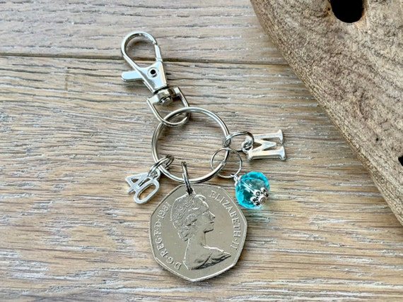 40th Birthstone gift 1981 fifty pence coin bag clip, choice of initial and birthstone colour, 40th Birthday or anniversary gift