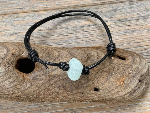 Sea glass and leather bracelet, knotted friendship bracelet great for stacking or layering with other bracelets