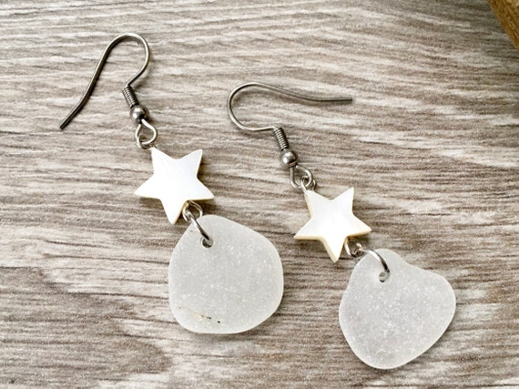 Sea glass earrings, English beach glass with shell stars and stainless steel ear wires,