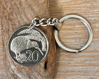 1976 New Zealand 20 cents coin keyring, kiwi, 45th Birthday or Anniversary gift