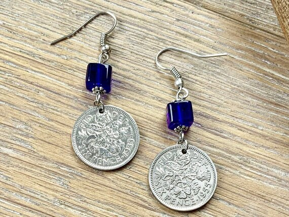 64th birthday gift for her, 1955 British sixpence earrings, pretty English coin Jewelry, uk retirement present woman, Boho coin earrings