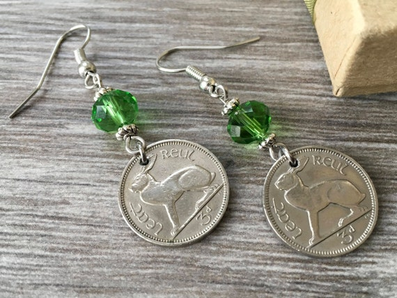 Irish hare coin earrings, 69th birthday gift, 1950 coin jewelry, Ireland three penny piece, retirement present for her, woman, mum grandma