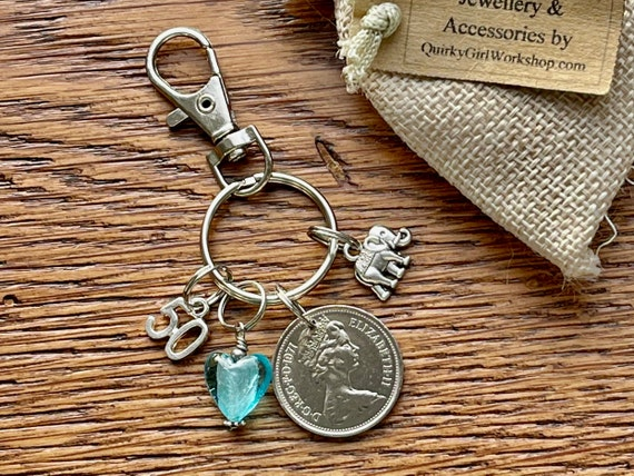 1971 British coin bag charm clip or key ring with an elephant charm, 50th birthday or anniversary gift for a woman