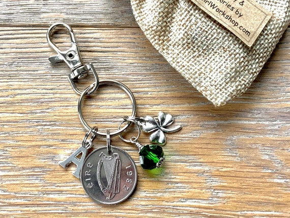 Irish Birthstone charm clip, 1982 coin keyring or bag clip, choice of initial and birthstone colour, 39th birthday or anniversary gift woman