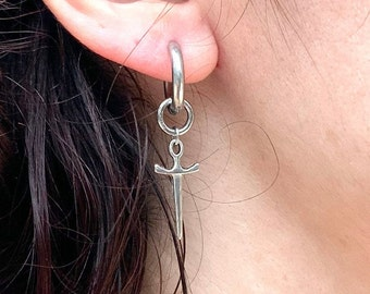 Thick hoop sword / dagger earring, available as a single earring or a pair of earrings