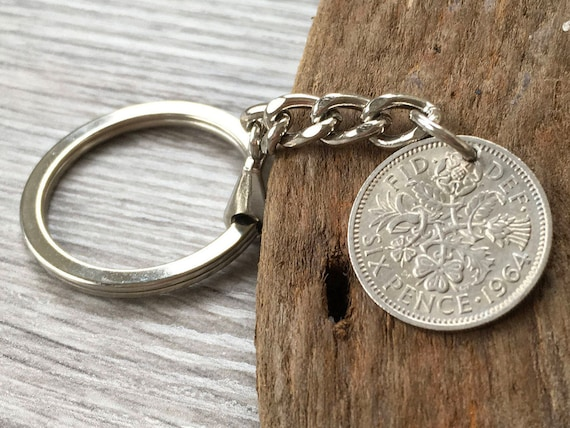Sixpence keyring, lucky British coin keychain, choose coin year for a perfect birthday, anniversary, retirement or good luck gift