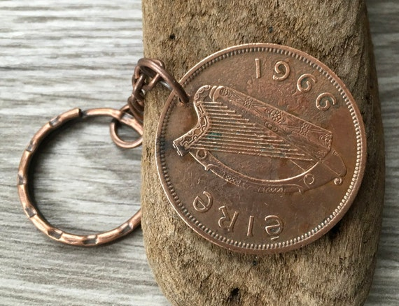 53rd birthday gift, 1966 Irish penny keyring, harp keychain, St Patrick's day, bag purse charm clip anniversary retirement present for a man