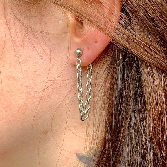 Loop chain stud post earring, available as a single earring or pair of earrings, made of stainless steel