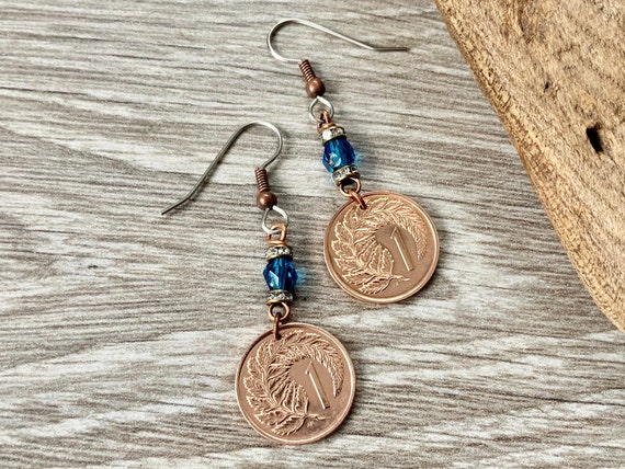 50th birthday gift, 1970 New Zealand pretty coin earrings, present woman, fern coin Jewellery, anniversary present for a woman