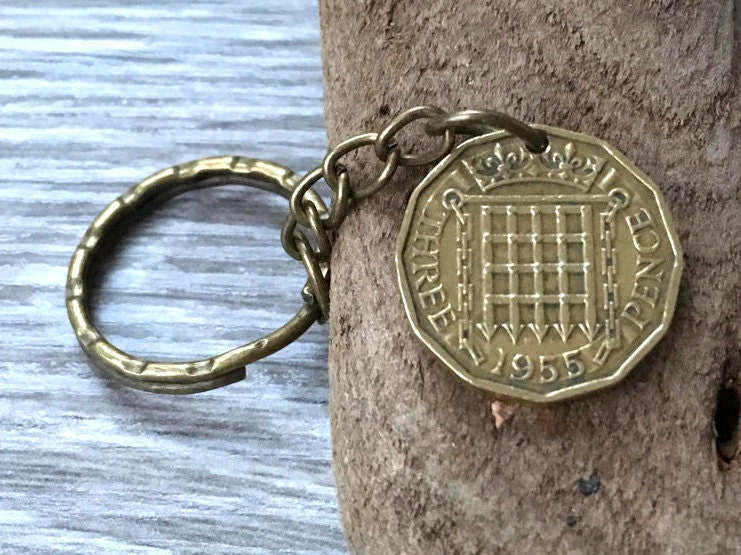 63rd Or 64th Birthday Gift 1954 1955 British Coin Keychain English