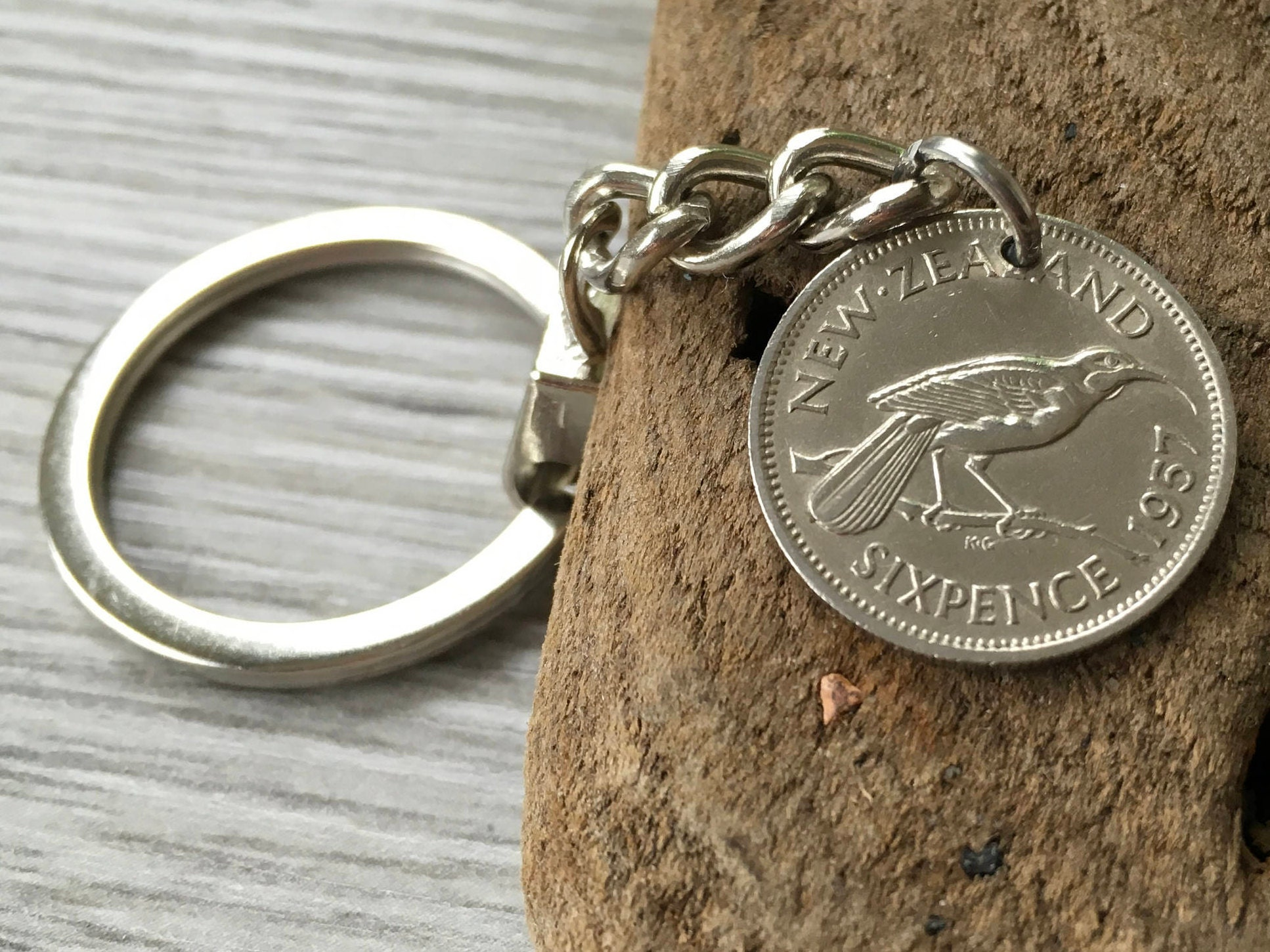 60th Birthday Gift For Him 1957 New Zealand Sixpence Keyring Huia