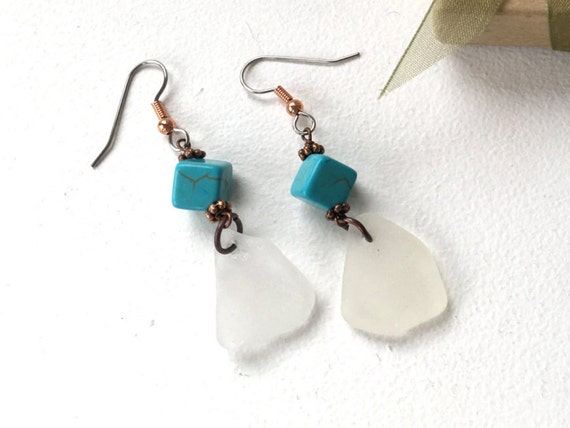 Natural sea glass, long dangle earrings, faux turquoise, beach glass earrings, sea glass jewelry, beach gypsy, one of a kind, romantic gift