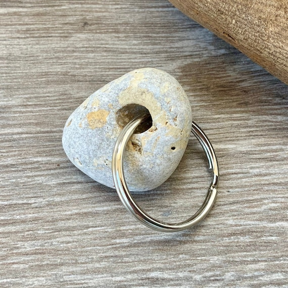 hag stone key ring, rock with a natural hole key chain, found beach pebble, Cornwall, raw stone key fob,