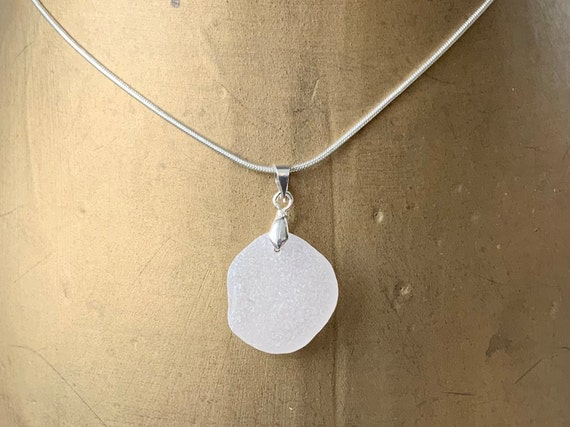 Natural frosted white sea glass pendant, Cornish beach glass pendant on a silver plated chain, mermaids tears