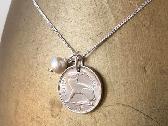 1940 Irish hare 3d coin pendant necklace, 80th birthday gift, sterling silver Chain, present for sister, friend, mum, grandma,