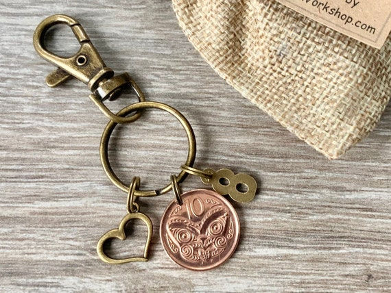 8th anniversary gift, 2013 New Zealand 10 cent coin keyring, keychain, wedding, bronze eighth anniversary