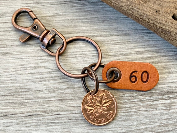 60th birthday gift, 1960 Canadian coin keychain, Canada one cent keyring maple leaf lucky penny clip, anniversary present for a man or woman