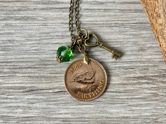 Wren Farthing necklace, British coin jewellery, Choose coin year for a birthday gift for a woman, peridot colour cut glass charm