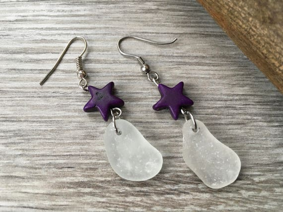 Sea glass and purple star earrings, boho beach jewelry, stainless steel ear wires, beach glass unusual gift mum, wife,mermaids tears