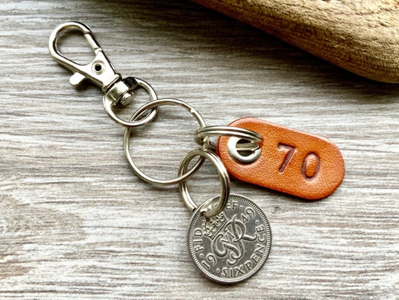 70th birthday gift 1949 Sixpence keychain, keyring or clip with a leather number seventy tag, small presents or a man or woman