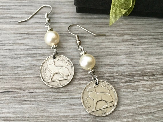 Irish hare coin earrings, 1928, 1940 or 1942 choose coin year, Celtic gift for a woman, ireland