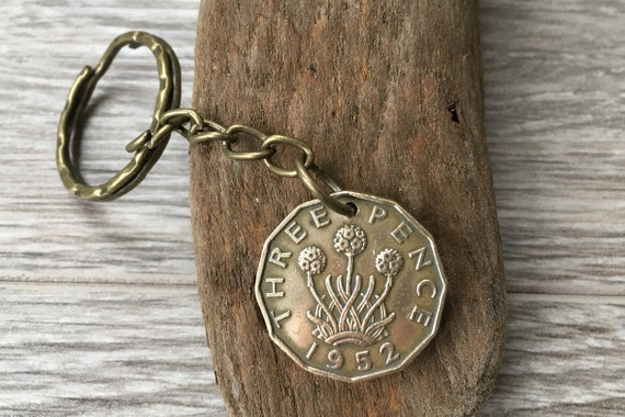 Vintage British threppence coin keyring, choose year 1950, 1951 or 1952, a perfect gift for 67th, 68th or 69th birthday