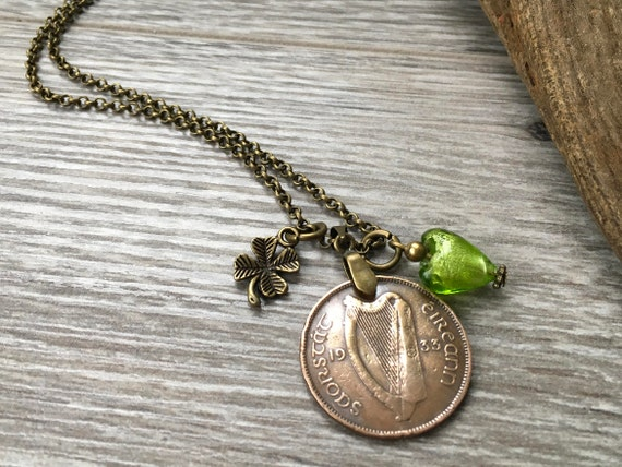 1933 Irish coin necklace, 86th birthday present for her, shamrock, gift for an Irish girl, woman, mama pig and baby pigs, jewelry, Ireland,
