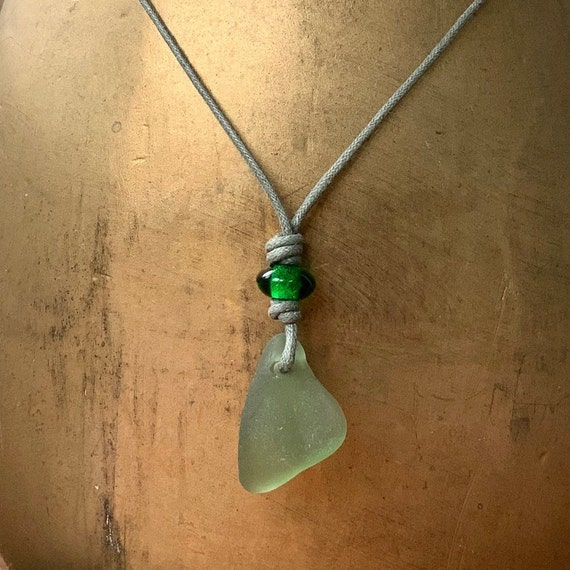 Green sea glass pendant, adjustable waxed cotton cord necklace, simple genuine beach glass boho no metal jewellery, men women, hippie man
