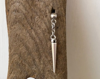 Single Spike earring, also available as a pair of earrings, for men or women, stainless steel post earring